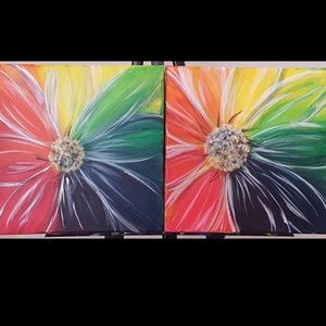 Flower Paintings. Set of 2 on Canvas